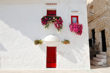 characteristic: characteristic white and red colored house with flowers at the window in Monopoli near Bari, Apulia, Italy