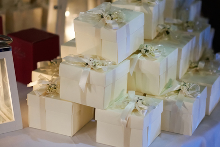 결혼식 손님을위한 선물을 선호 스톡 콘텐츠