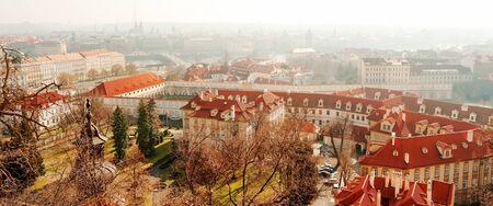 housetop: Prague cityscape in a misty day, Czech Republic, Europe Stock Photo