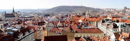 housetop: Prague cityscape - panoramic view of red roofs skyline, Czech Republic