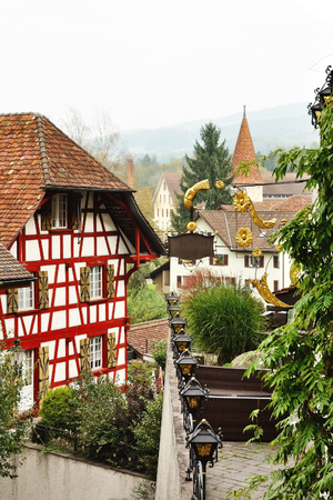 aargau: Scenic view of Bremgarten with half timbered house, Aargau, Switzerland