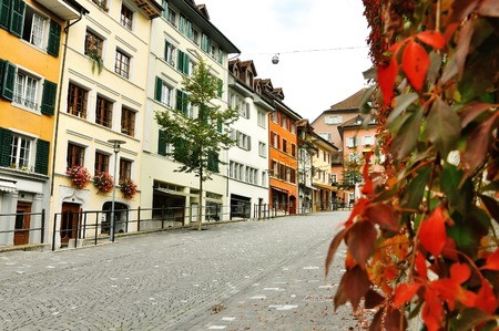 characteristic: Characteristic colorful buildings in Bremgarten, Aargau, Switzerland