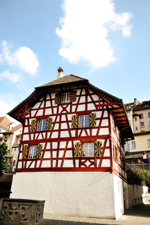 characteristic: Bremgarten, Aargau, Switzerland - characteristic timber frame house Stock Photo