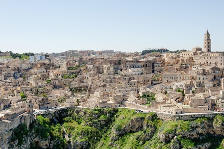 unesco culture heritage: Panoramic view of sassi, Matera, Unesco heritage and European capital of culture 2019, Basilicata, Italy Stock Photo