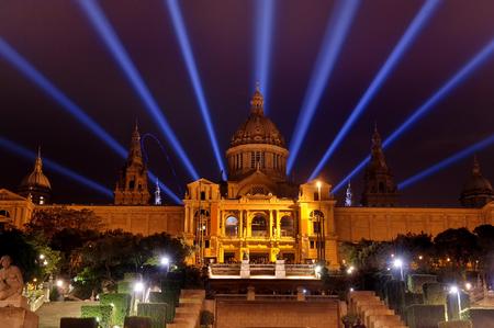 Barcelona, Spain - National art museum in Plaza de Espana night view
