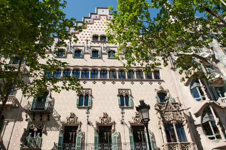 Building facade in gothic architecture style, Barcelona, Spain, Europe Editorial