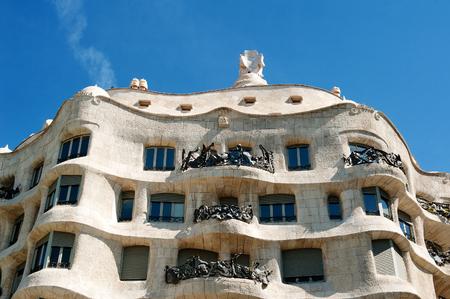 Barcelona, Spain, Europe - Casa Mila (La Pedrera) designed by architect Antoni Gaudi. Editorial