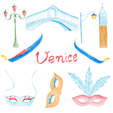 marco: Watercolor hand drawn venetian symbol gondola, rialto bridge, carnival mask, san marco bell tower
