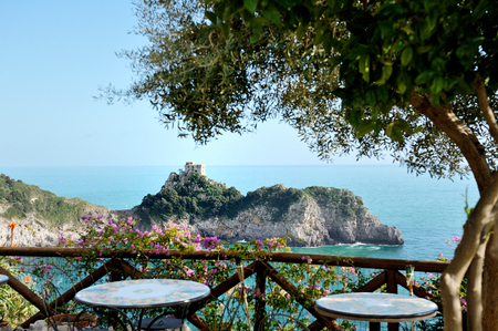 Saracen tower in Conca dei Marini, Amalfi coast, Italy