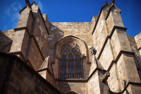 catalunya: Barcelona, Spain, Barri Gotic district - facade of a medieval gothic building Stock Photo