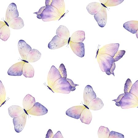 Watercolor hand drawn butterflies seamless pattern