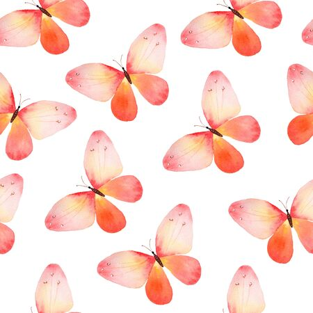 Watercolor seamless pattern with pink and orange butterflies Stock Photo - 81339131