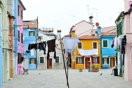 Colorful buildings in Burano island, Venice, Italy Stock Photo