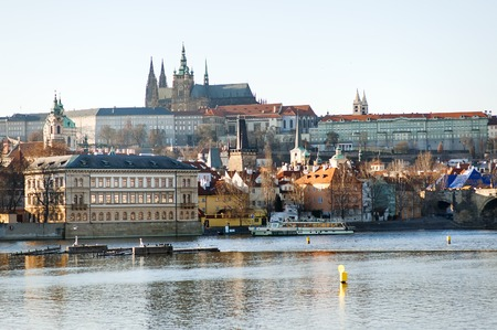Prague, Czech Republic, Europe - panoramic view of the Castle and Vltava river