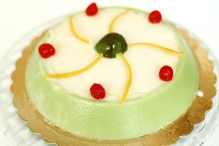 Cassata siciliana cake - traditional italian sweet with ricotta cheese and candied fruit Stock Photo
