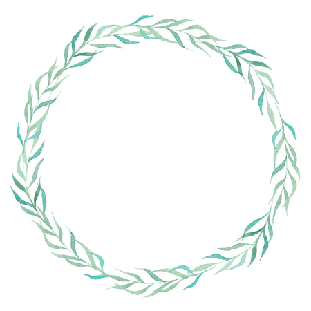 Watercolor hand painted palm leaves wreath on white background. Perfect for your project,decorations,cards,wallpapers.