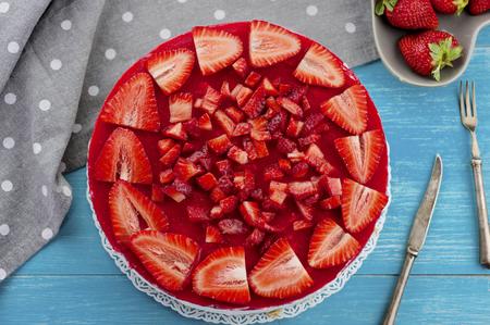 Beautiful dessert cake with strawberries fruit