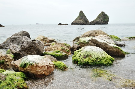 Seascape, on background the large rocks, the symbol of the city of Vietri sul Mare, Amalfi Coast, southern Italy