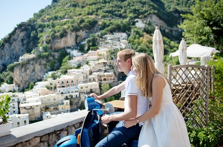 Young smiling tender romantic couple in Positano, Italy - love concept Stok Fotoğraf