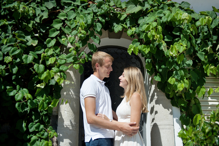 Young smiling tender romantic couple in Positano, Italy - love concept Stock Photo