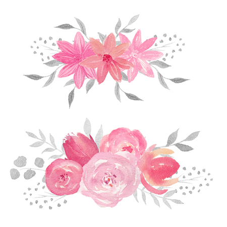 Set of watercolor floral composition with rose, leaves, flowers and branches. Perfect for wedding, invitations, blogs, template card, birthday, baby cards, greeting, logos bridal card