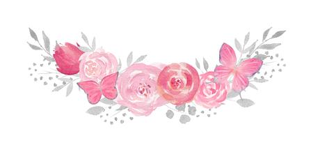 Aquarellblumenkomposition mit Rose, Blättern, Blumen, Schmetterlingen und Zweigen. Vervollkommnen Sie für Hochzeit, Einladungen, Blogs, Schablonenkarte