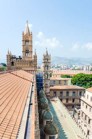 Panoramic view from roof of Cathedral Santa Vergine Maria Assunta in Palermo Archivio Fotografico
