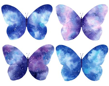 Set of Watercolor galaxy butterflies isolated on the white background. Hand painted watercolor illustration perfect for Valentine's day invitation or romantic post cards. Banque d'images