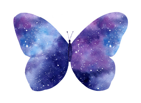 Watercolor galaxy butterfly isolated on the white background. Hand painted watercolor illustration perfect for romantic post cards.