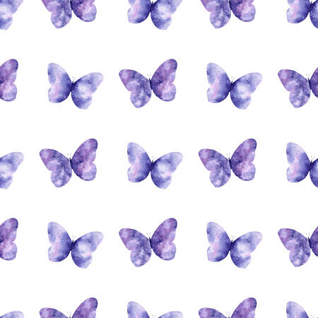 Watercolor seamless pattern with bright galaxy butterflies. Cute decorative background. Wallpaper for season decoration, wrapping paper.