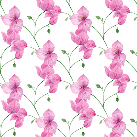 Watercolor pink seamless pattern with flowers. Romantic floral background perfect for fabric textile, vintage paper or scrapbooking.