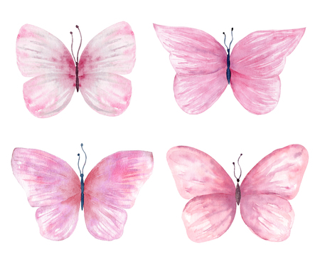 Watercolor butterfly set hand drawn painting. Can be used for greeting cards,wedding invitations,logo,T-shirts,bags,posters,printing on fabric,wallpaper,packaging,decorations. 写真素材