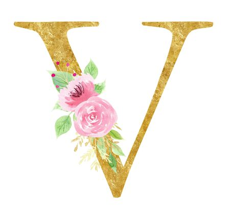 Initial V letter with rose raster illustration. Latin alphabet sign with beautiful leaves and flowers watercolor painting. Consonant with gold texture effect. Elegant logotype on white background Stock fotó
