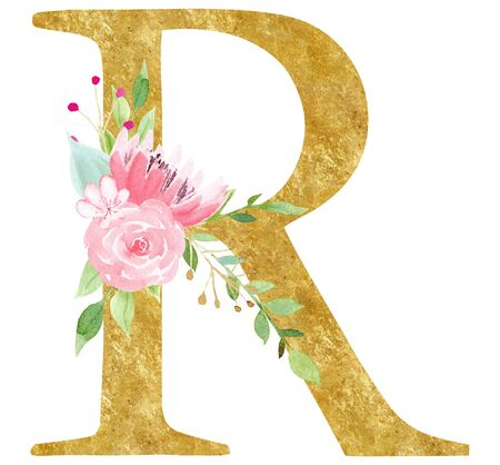 Initial R letter with flower raster illustration. Latin alphabet sign with pink blossom watercolor painting. Elegant cardboard lettering with golden texture. Botanical logotype isolated design element Stock Photo