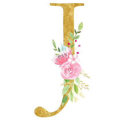 Elegant J letter with flowers raster illustration. Latin alphabet consonant with golden texture. Cardboard monogram with blossom watercolor painting. Botanical logotype isolated on white background