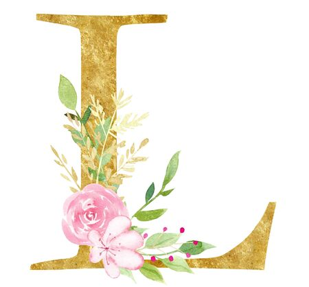 Capital L letter with flowers raster illustration. Latin alphabet symbol with rose and lotus. Vintage consonant with blossom watercolor painting. Botanical logotype isolated design element