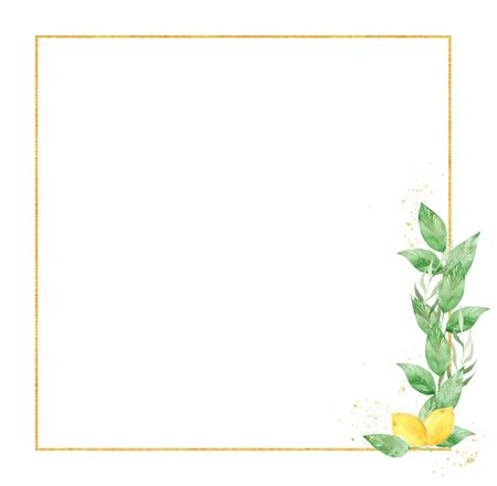 Botanical square decorative raster frame. Geometrical thin line border with text space. Juicy lemon with foliage illustration. Floral invitation, greeting card, postcard watercolor design element