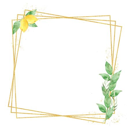 Floral geometric frame raster illustration. Square thin line border with copyspace. Juicy lemon with green leaves. Botanical invitation, greeting card, postcard watercolor design element