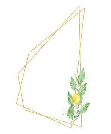 Botanical low poly border raster illustration. Geometrical thin line frame with text space. Yellow fruit, lemon with leaves watercolor painting. Invitation, greeting card, postcard design element