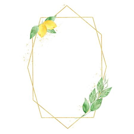 Geometric border watercolor raster illustration. Low poly thin line frame with text space. Sour lemon with foliage. Botanical invitation, greeting card, floral postcard design element