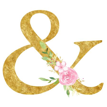 Ampersand with blossom raster illustration. Alphabet sign, symbol with elegant blooming flowers watercolor painting. Logogram with golden texture. Decorative floral logotype design element Imagens