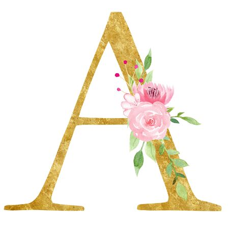 Initial A letter with flowers raster illustration. Latin alphabet symbol with beautiful pink blossom watercolor painting. Monogram with golden texture. Floral logo isolated on white background
