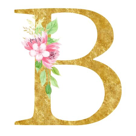 Initial B letter with flowers raster illustration. Latin alphabet symbol with pink blossom watercolor painting. Cardboard monogram with golden texture. Botanical logo isolated on white background