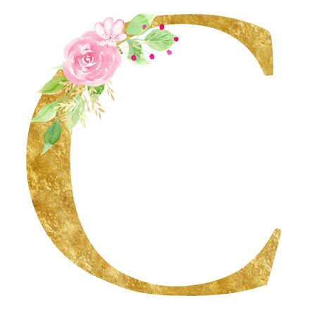 Capital C letter with flowers raster illustration. Latin alphabet sign with beautiful pink blossom watercolor painting. Floral monogram with golden texture. Elegant logo isolated on white background
