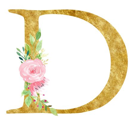Initial D letter with blossom raster illustration. Latin alphabet symbol with pink flowers watercolor painting. Cardboard monogram with golden texture. Floral logo isolated on white background Imagens