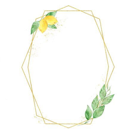 Round low poly frame raster illustration. Golden thin line botanical frame with text space. Summer fruit with twigs watercolor painting. Invitation, floral greeting card, postcard design element Imagens
