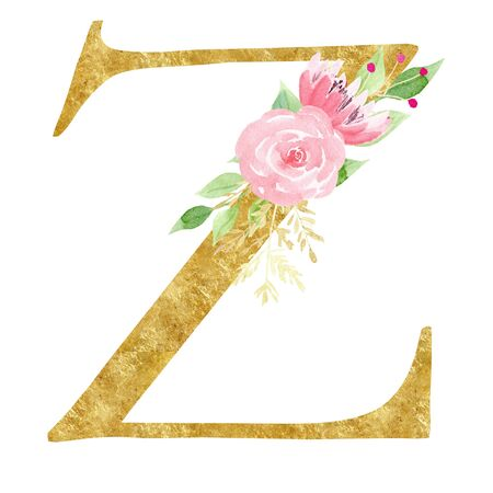 Capital Z symbol with flowers raster illustration. Cardboard latin alphabet letter watercolor painting. Consonant with golden texture. Lettering with rose and lotus isolated on white background