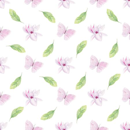Magnolia blooming flowers watercolor seamless pattern. Cute pastel butterflies raster texture. Exotic floral blossom on white background. Springtime wildlife beauty wallpaper design