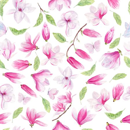 Flowers, leaves and butterflies watercolor seamless pattern. Magnolia flower raster texture. Spring flowers on white background. Summertime blossom wrapping paper design