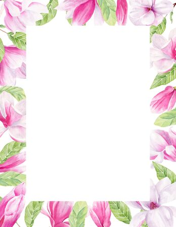 Magnolia buds and flowerheads watercolor hand drawn raster frame template. Floral bloom, blossom border for photo. Exotic, foreign pink flowers isolated event invitation design elements